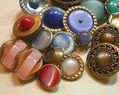 17 Vintage Buttons  Faux Jewels