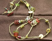 GLASS and ACRYLIC - NECKLACE -  42 inches of Fruit Colors