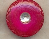 3 HOT PINK n RHINESTONE BUTTONS  Vintage Threesome