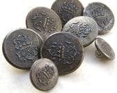 8 CREST BUTTONS  Vintage Brass Buttons