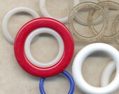 16 PLASTIC RINGS White, Clear, Glittered, Red and Blue