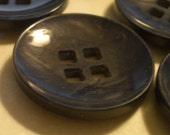 Vintage Buttons  -  BIG Square HOLED  -  Black and Blue Plastic