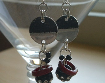 Frolicking Fun Earrings -  Dangles of Discs and Rhinestone Ball Buttons