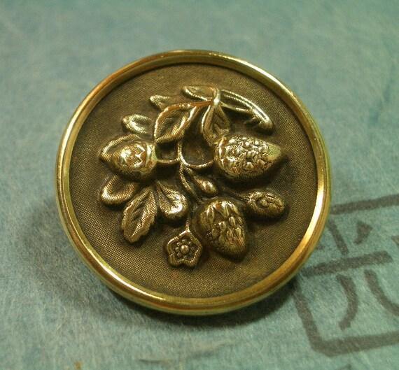 Antique Brass Picture Button  -  Strawberries