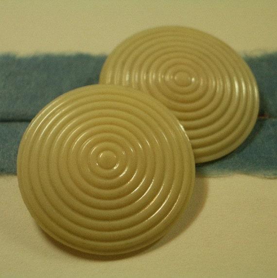 2 Vintage  -  Celluloid Bullseye Buttons