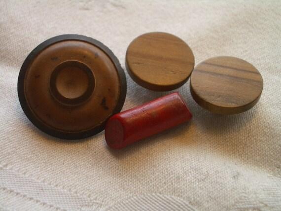 Vintage Buttons-  WOOD-  4 Handsome Closures