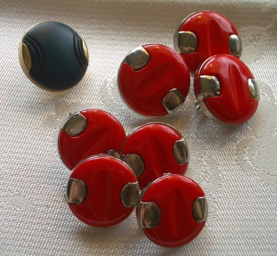 Vintage JackieO Buttons  -   Red and Gold Retro