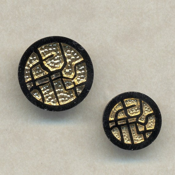 Vintage Glass Buttons -    Abstract -   Black and Gold