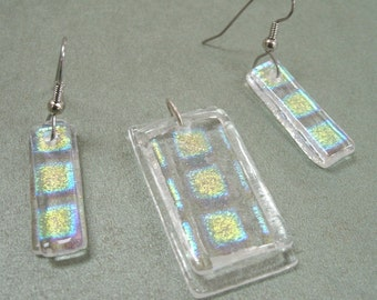 Beautiful Fused Dichroic Glass Earrings And Pendant Set - OOAK