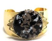 Black Gold Speckle Cuff Bracelet