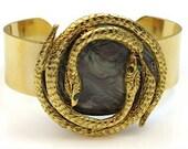 Snake Bracelet, Gold Cuff, Snake Jewelry, Vintage Jewelry,Snake Jewelry, Serpent Jewelry