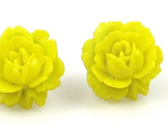Flower Earrings, Chartreuse Earrings, Post Earrings,Vintage Chartreuse Flower Post Earrings,Vintage Jewelry,Vintage Earrings