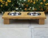"Elevated Pet Bowl Feeder 3"" Tall with 1-Pint Bowls (Stained - Golden Oak)"