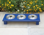 "Navy Blue Elevated 3-Bowl Cat Feeder 3"" Tall with 1-Pint Bowls"