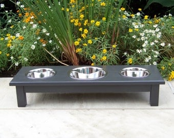 "Custom Finished 6"" Tall 3-Bowl Elevated Dog Feeder with Mixed Sized Bowls (one 2-Quart and two 1-Quart)"
