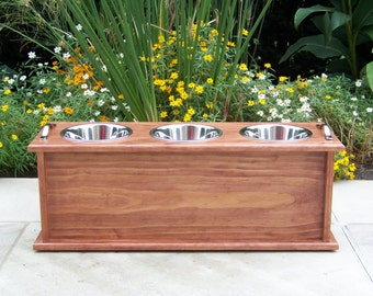 "Custom Finished 12"" Tall Storage 3-Bowl Dog Feeder with 2-Quart Bowls"