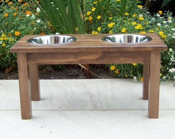 "Custom Stained Elevated Dog Bowl Feeder 12"" Tall with 2-Quart Bowls"