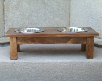 "Custom Stained Elevated Dog Bowl Feeder 6"" Tall with 1-Quart Bowls"