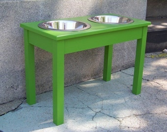 """Custom Painted 18"""" Tall Elevated Dog Bowl Feeder with 3-Quart Bowls"""