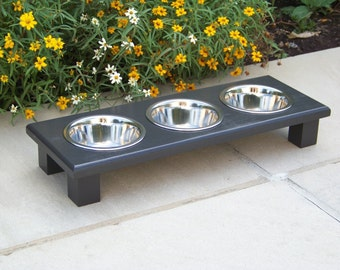 "Custom Painted Elevated 3-Bowl Cat Feeder 3"" Tall with 1-Pint Bowls"