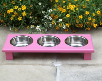 """Custom Painted Elevated 3-Bowl Cat Feeder 3"""" Tall with 1-Pint Bowls"""
