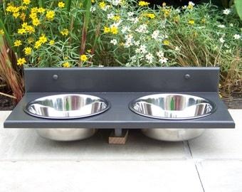 3-Quart Wall Mounted Dog Bowl Feeder (Custom Finished)