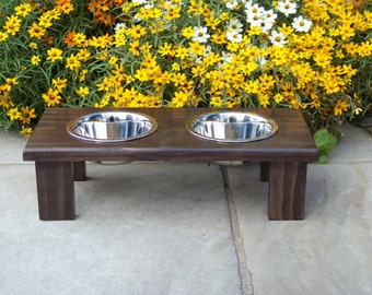 "Modern Custom Stained Elevated Dog Bowl Feeder 4.5"" Tall with 1-Pint Bowls"