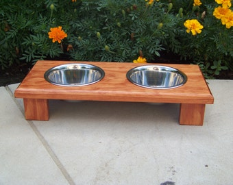 "Custom Stained Elevated Pet Bowl Feeder 3"" Tall with 1-Pint Bowls"