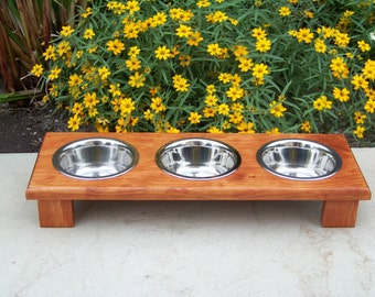 """Custom Stained 3-Bowl Elevated Cat Feeder 3"""" Tall with 1-Pint Bowls"""