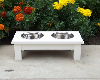 "Custom Painted Elevated Dog Bowl Feeder 4.5"" Tall with 1-Pint Bowls"