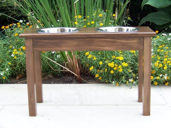 """Custom Stained 18"""" Tall with 3-Quart Bowls Elevated Dog Bowl Feeder"""