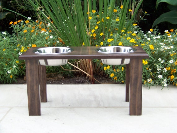 "Modern Custom Stained Elevated Dog Bowl Feeder 12"" Tall with 2-Quart Bowls"