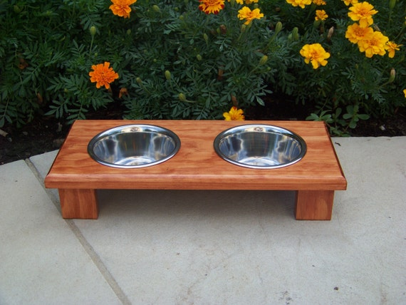 "Elevated Cat Bowl Feeder 3"" Tall with 1-Pint Bowls (Stained - Traditional Cherry)"