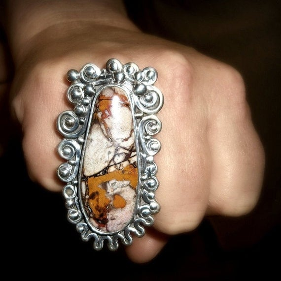 Feast of Autumn Harvest jasper cabochon set in hand forged sterling silver large ring