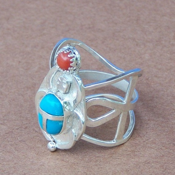 Ring of Imhotep God of learning and medicine sterling silver turquoise and Red coral