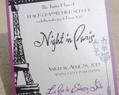 Night in Paris - INVITATION parisian french eiffel tower purple lavender lilac shower baby bridal birthday party