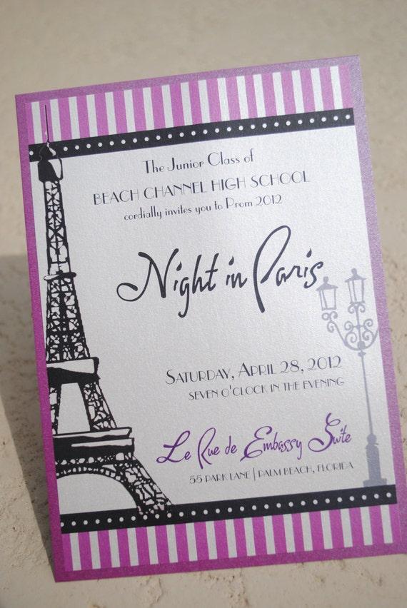 Night in Paris - INVITATION parisian french eiffel tower purple lavender lilac shower baby bridal birthday party