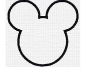 Mouse Ears applique, fill, and peace digital machine embroidery design