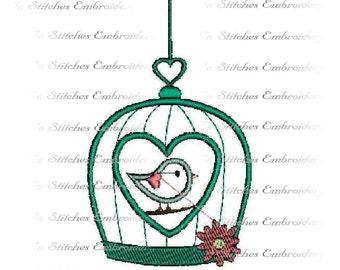 Applique bird in bird cage digital embroidery design 4x4 and 5x7 hoop