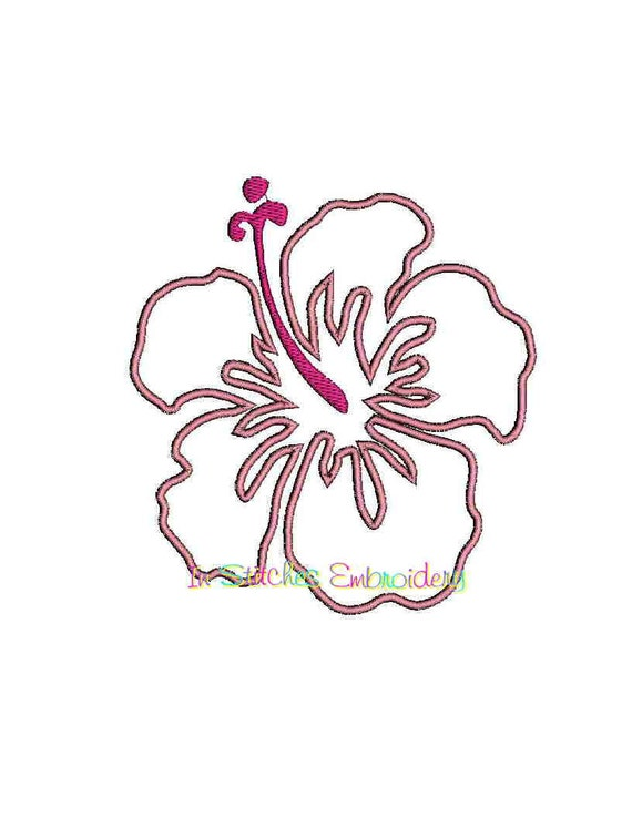 INSTANT Download - Hibiscus digital machine embroidery applique, fill, and satin