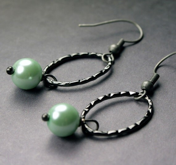 Mint Green Gunmetal Hoop Earrings