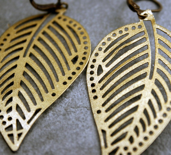 Leaf Earrings- Lightweight Brass Dangle Leaf Earrings