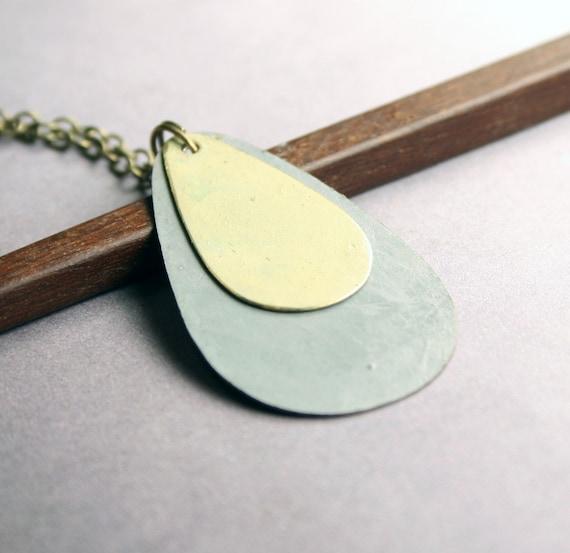 Geometric Jewelry: Minimalist Teardrop Necklace - Brass with khaki and blue patina