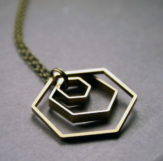 Hexagon Necklace - Geometric Pendant Necklace