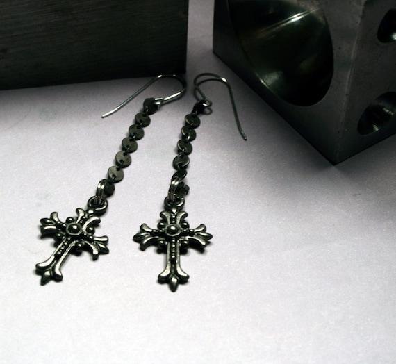 Dangling Cross Bracelet: Gothic Jewelry: Dark Dangling Cross Earrings By