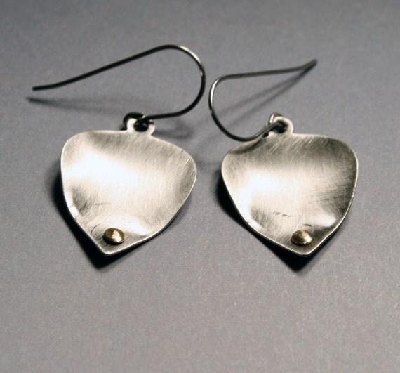 Leaf Dangle Earrings -  Brushed Silver Leaves  - Riveted