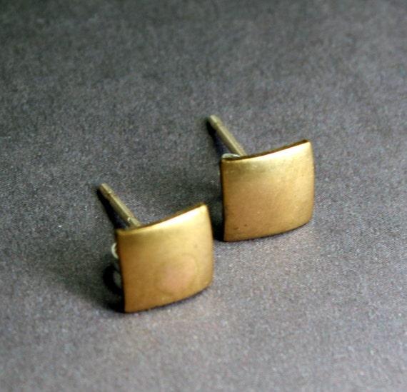 Geometric Jewelry:  Minimalist Brass Square Post Earrings