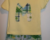 John Deere Toddler Infant Boys Shorts and T-Shirt Custom  With Letter or Number Made to Order 6M to 4T