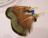 Light as a Feather Earrings --- natural Golden Pheasant Plumage feathers hand wire wrapped with Swarovski crystals