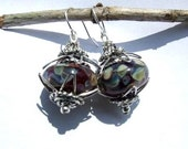SALE Gypsy Glass Lampwork Handmade with Bali Silver and Handmade sterling silver Earwires Dangle Earrings